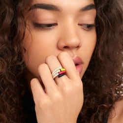 Melissa Kaye's bestselling Lola diamond stacking rings have been updated in neon enamel,$2,850 each