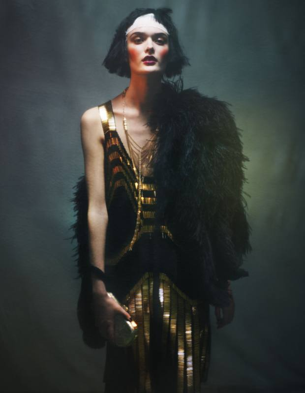 Georgette satin dress with beaded embroidery, £5,580, and ostrich-feather cape, £3,330, both by Gucci. Iridescent snakeskin Monete minaudière clutch bag, £3,120, by Bulgari. 18ct gold, amethyst and pavé-diamond Sautoir Froufrou necklace, £87,000, by Boucheron. Boucheron, 164 New Bond Street, London W1 (020-7514 9170; www.boucheron.com) and branches/stockists. Bulgari, 165 New Bond Street, London W1 (020- 7872 9969; www.bulgari.com) and branches/stockists. Gucci, 18 Sloane Street, London SW1 (020- 7235 6707; www.gucci.com) and branches/stockists.