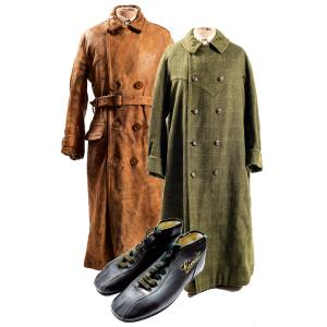 From left: 1920s Ad Astra motoring coat, £1,250, and c1910 coat, £2,450, both from JoJo's General Store