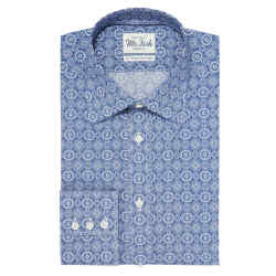 Mr Fish cotton Blue Kaleidoscope shirt, £195