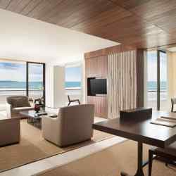 A beach suite living room at Alila Seminyak, Bali