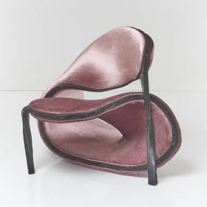 Sebastian Brajkovic velvet and black-bronze Taotie Man chair (2019), £48,000 (plus shipping), edition of 15, at David Gill Gallery