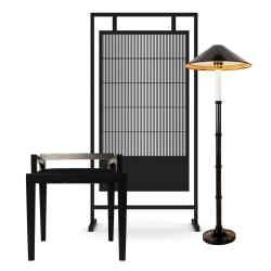 From left: Black beech, oriental styled low chair, £1,350; Beech Asia Minor screen, £6,200; Yardstick floor lamp £1,170