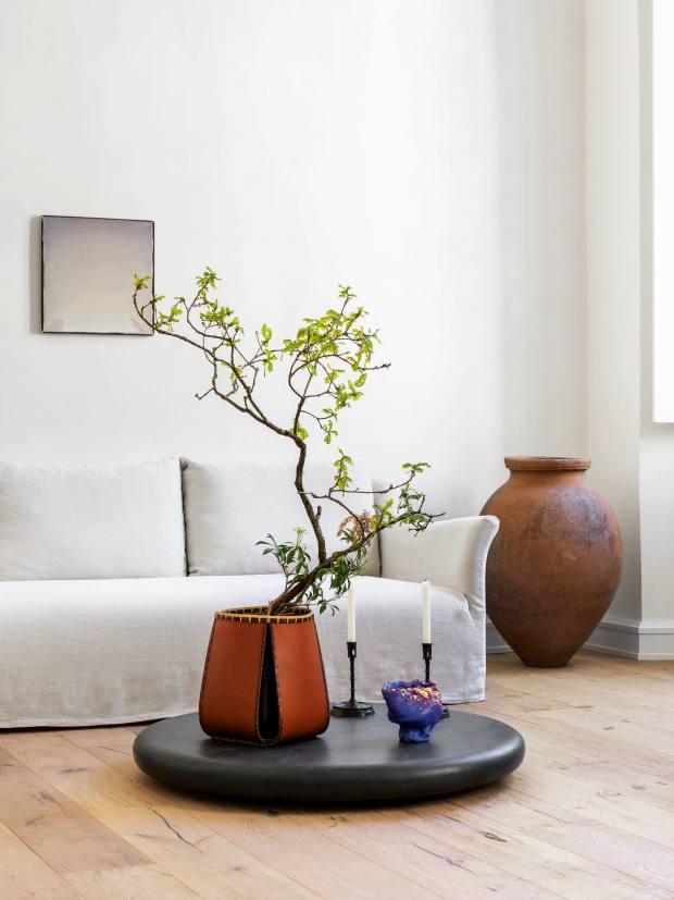 Loewe's setup included a leather Loewe basket by Hafu Matsumoto, £8,100