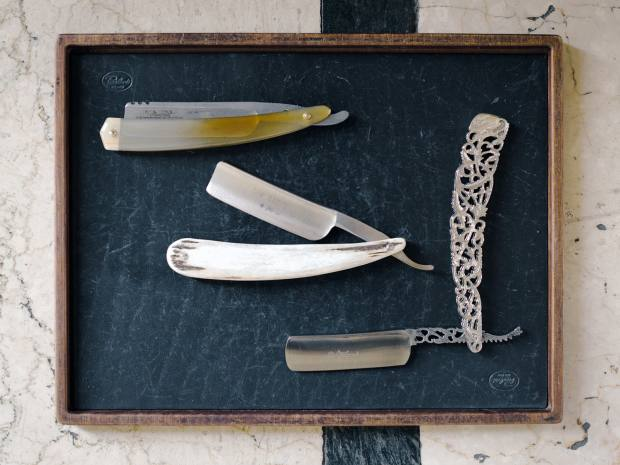 Preattoni's drawer of precision blades includes Japanese Feather and Russian Rapira varieties, from €5