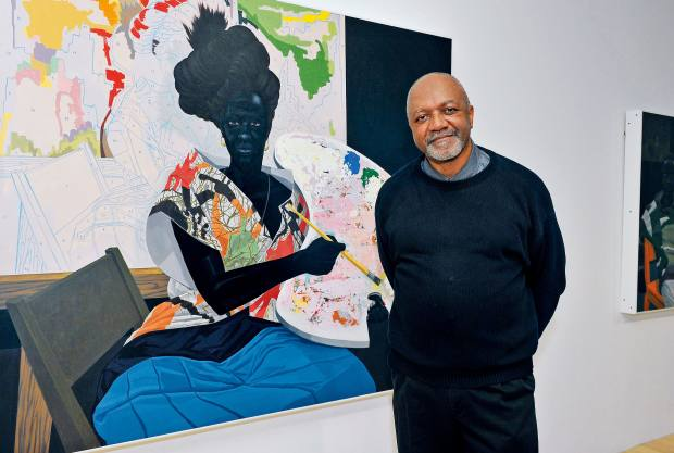 Kerry James Marshall with Untitled (2009) at his Mastry retrospective, currently on show at the Museum of Contemporary Art, Los Angeles