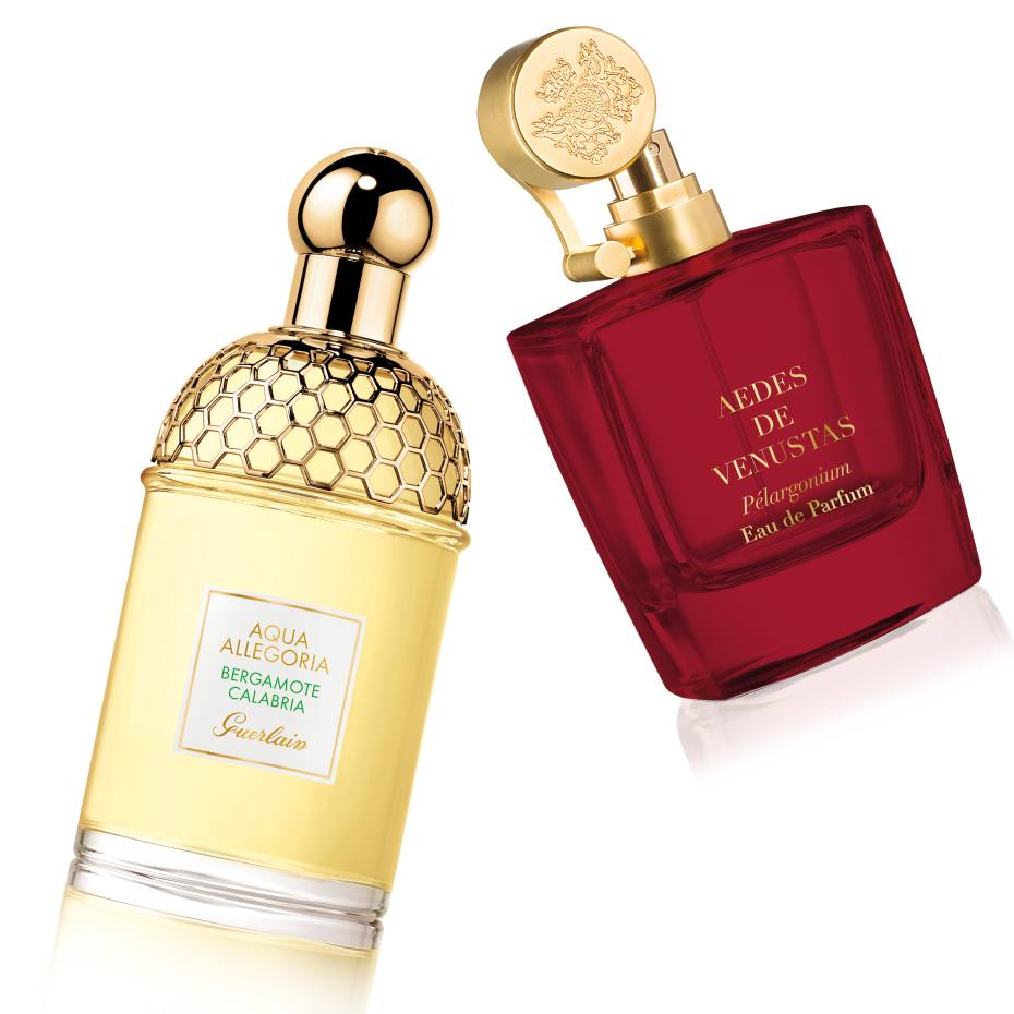 Aqua Allegoria Bergamote Calabria, £43 for 75ml EDT. Aedes de Venustas Pélargonium, £210 for 100ml EDP