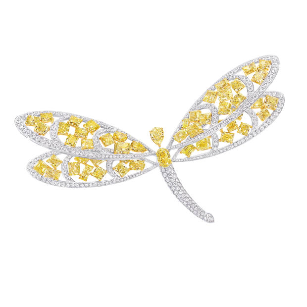 Graff platinum, white gold and yellow and white diamond dragonfly brooch, price on request