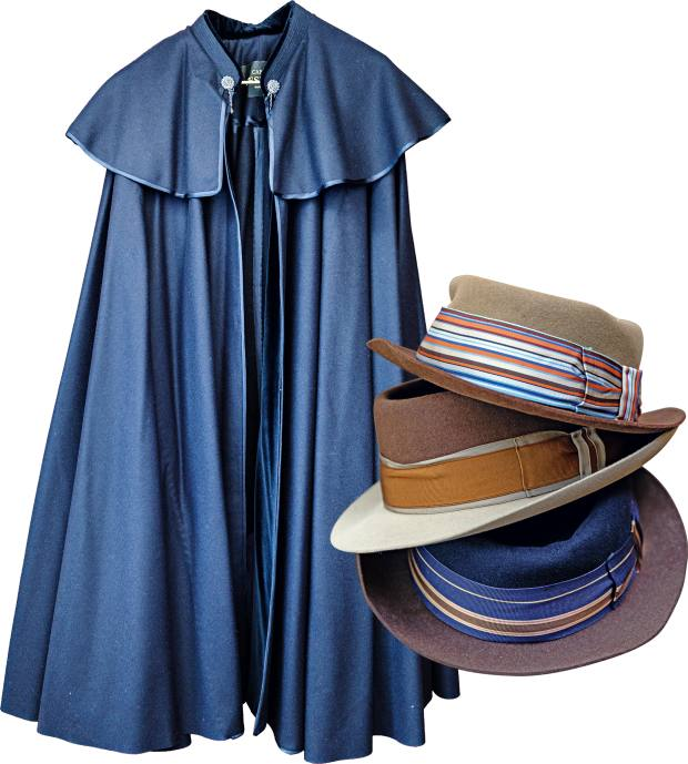 From left: the blue cape made in Madrid that was a 60th birthday present. Some of Assouline's felt hats by Worth & Worth, from $345