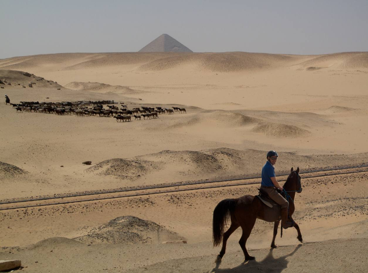 Tarquin Cooper and Wadi, the fiery Arab cross, in the unchanged Sahara landscape