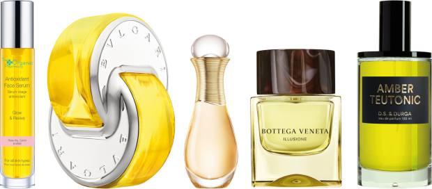 From left: The Organic Pharmacy antioxidant face serum, £85 for 35ml. Bulgari Parfums Omnia Golden Citrine, £69 for 65ml EDT. Dior J'Adore roller pearl, £41 for20ml EDP. Bottega Veneta Illusione For Him, £54 for 50ml EDT, johnlewis.com. DS & Durga Amber Teutonic perfume,£220 for 100ml EDP, libertylondon.com