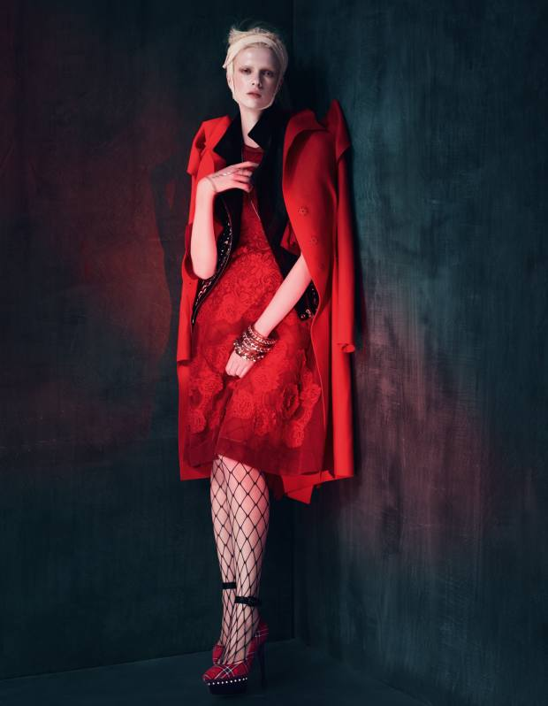 Wool/cashmere coat, £2,020, by Bottega Veneta. Leather studded sleeveless jacket, £790, by Iro from Stylebop. Lace dress, £3,632, by Dolce & Gabbana. Whalenet tights, £3.99, by Silky. Leather and tartan shoes, £249, by Ursula Mascaro. Plexiglas and metal chain bangles, from £1,080 each, by Chanel. Silver and white sapphire bangle with attached ring, £4,400, by Sheeva