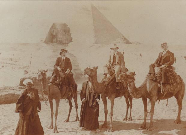 Joseph Altounian visiting the pyramids at Giza