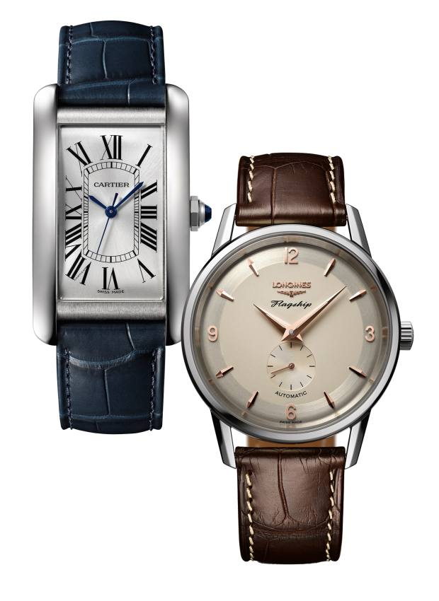 From left: Cartier steel Tank Américaine on leather strap, £4,600. Longines stainless-steel Flagship Heritage on alligator strap, £1,100