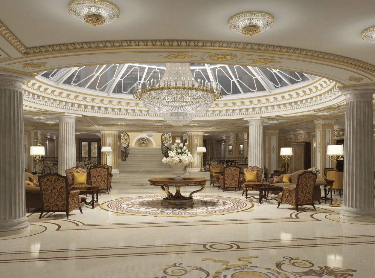 The lobby at the Official State Hermitage Hotel, St Petersburg