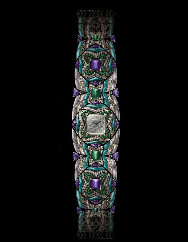 Bulgari yellow gold, emerald, diamond, turquoise, amethyst and mother-of-pearl Geometry of Time watch, price on request