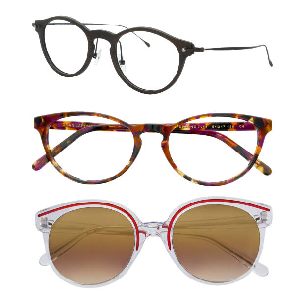 From top: carbon-fibre and beta-titanium Lafont Transverse. Cat eye-inspired optical Lafont Simone in coloured acetate. Translucent acetate Lafont Vogue with mirrored lenses. All from €500
