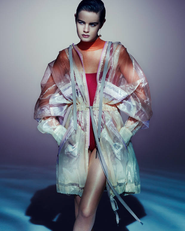 Marc Jacobs polyester jacket, £1,105, and polyester bodysuit, price on request. Eres polyamide Alibi swimsuit, $355. Tiffany & Co gold City earrings, £1,225