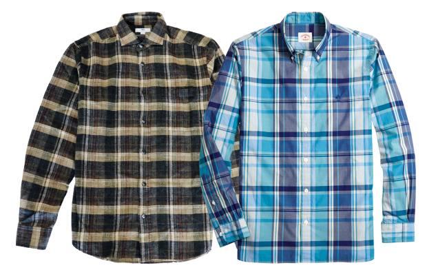 From left: Inis Meáin raw silk/linen shirt, $360. Brooks Brothers Red Fleece cottonpoplin shirt, £85