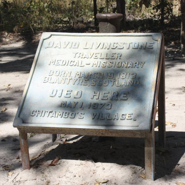 Livingstone's plaque in Chief Chitambo's village at Llala