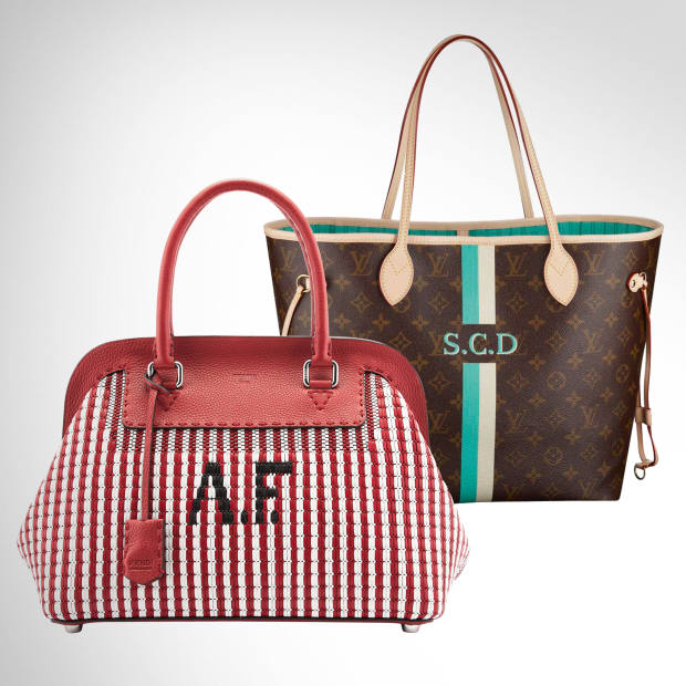 From left: Fendi made-to-order woven leather Adele bag, £5,610. Louis Vuitton leather Mon Monogram Neverfull GM bag, £840