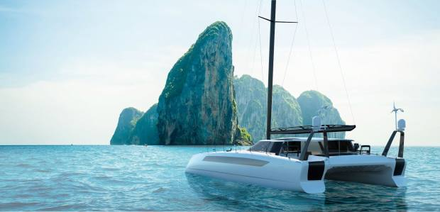 The Daedalus D80 cruising catamaran, $12.5m, uses a fly-by-wire system at speed to reduce hull drag