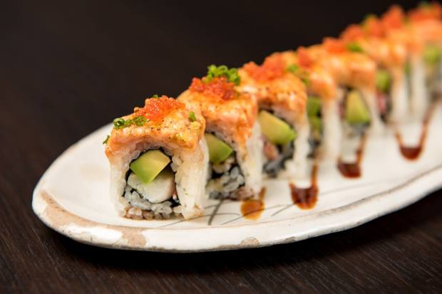 The signature Murasaki roll of salmon and sea bass with a snow crab and avocado filling, £15