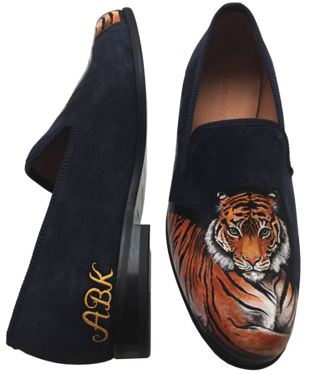 Duke & Dexter customised shoes with tiger design for a customer from Bengal