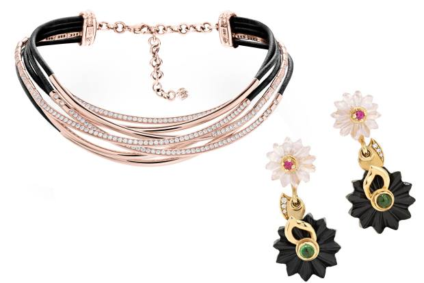 From left: De Grisogono pink gold, diamond and leather Allegra necklace, £42,700. Alice Cicolini pink sapphire, tsavorite garnet and black jade Summer Snow earrings, £2,945