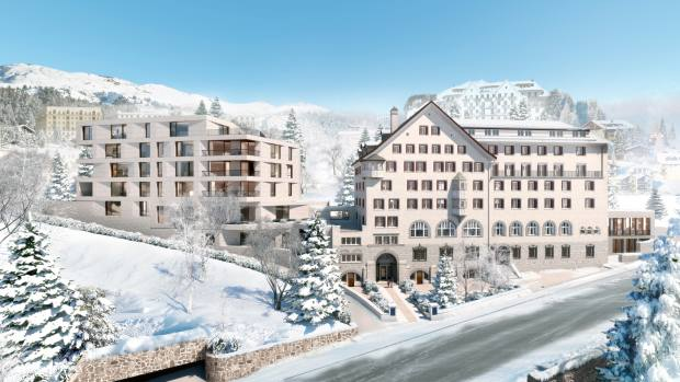 The Grace St Moritz apartment complex in itsmountain setting