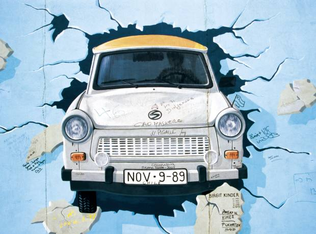 Trabant mural on the Berlin Wall.