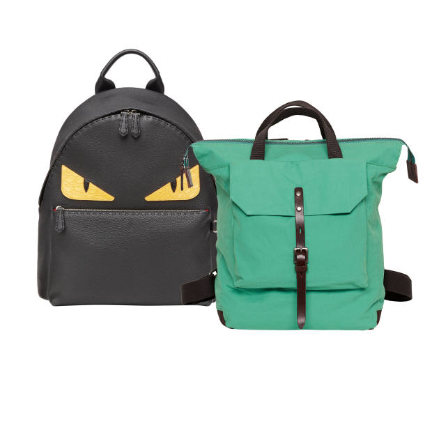 From left: Fendi leather Monster backpack, £3,130. Ally Capellino cotton Frances backpack, £225