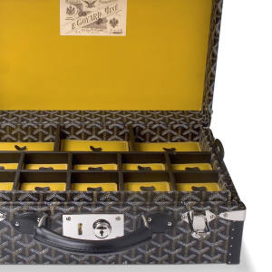 Goyard jewellery trunk in canvas and leather, price on request. See main text for stockists.