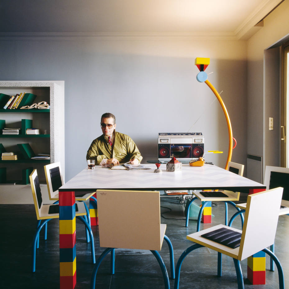 Karl Lagerfeld in his Memphis-furnished Monaco flat in the 1980s