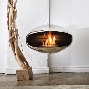 Cocoon Fires stainless-steel Aeris Hanging Cocoon, £2,988 from Skandium