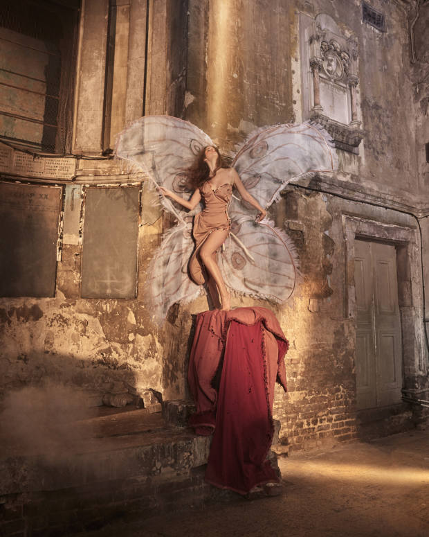 Andreas Kronthaler for Vivienne Westwood stiffened silk dress, £2,920. Wings created by Aadnevik