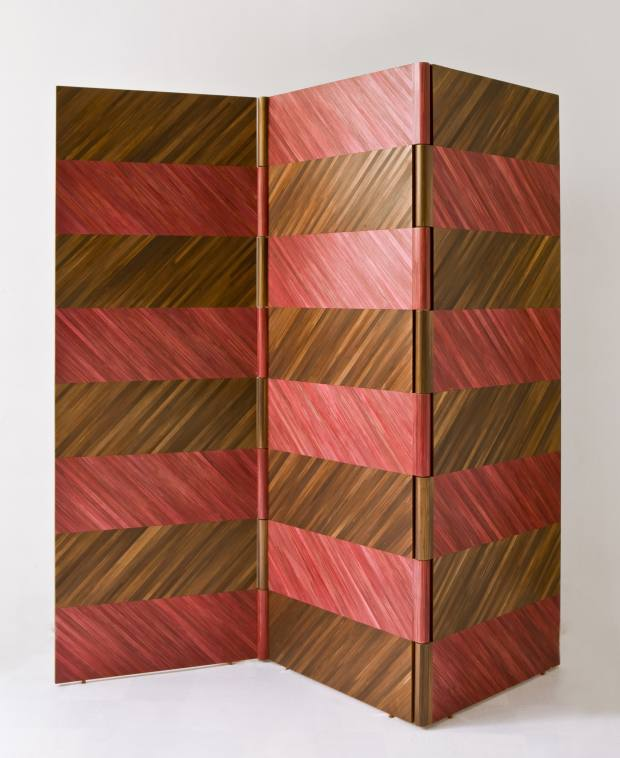 Straw-inlaid screens are among Lison de Caunes' larger pieces