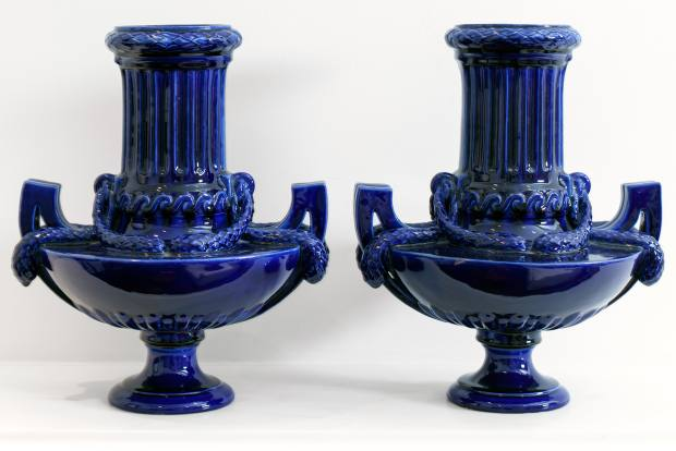 Wickstead's antique blue vases from Sunbury Antiques Market
