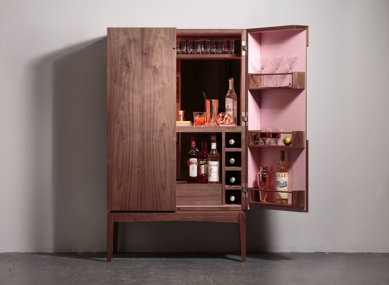 Walnut Chantelle drinks cabinet with sugar-pink interior, £8,500