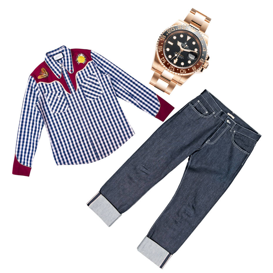 Gucci shirt by  Alessandro Michele, s/s 2016, £600, for sale at vestiairecollective.com, Rolex GMT-Master  II, 2018, sold for £29,950  at watchfinder.com, Bottega Veneta jeans,  a/w 2018, £110, for sale at  vestiairecollective.com