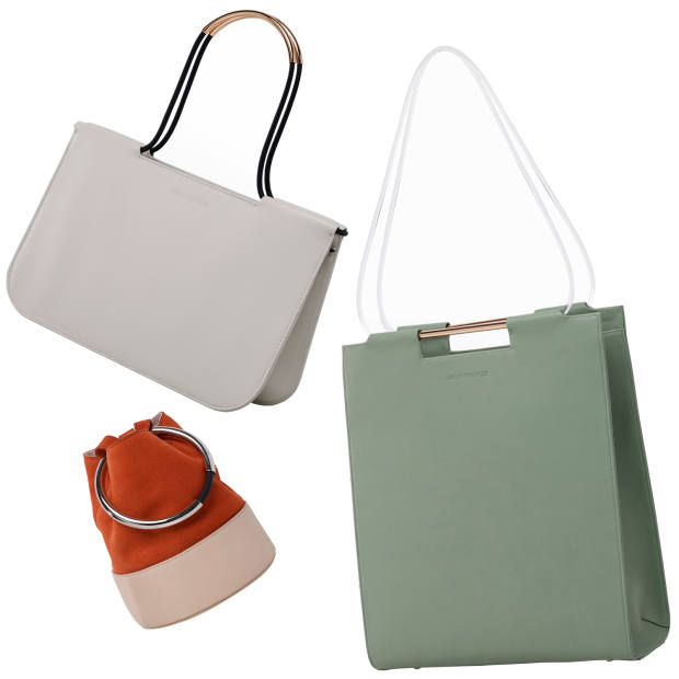 From top left: Skye shoulder bag, £515, Cara tote bag, £600, and Texa bucket bag, from £395