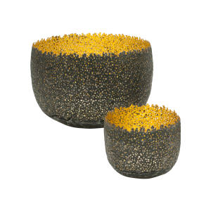 Claire Malet reformed metal can and 24ct gold Eroded Bowls: large, £3,085; small, £750
