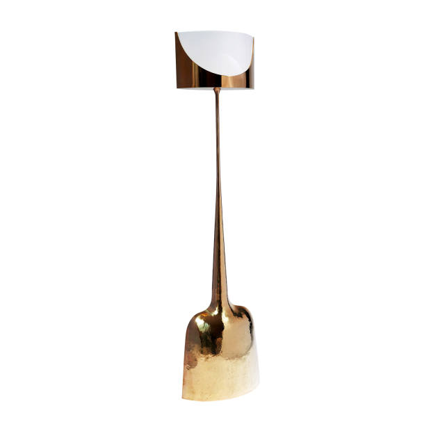 Philippe Hiquily brass and Altuglas lamp, €30,000, designed for Henri Samuel, from Gallery Yves Gastou