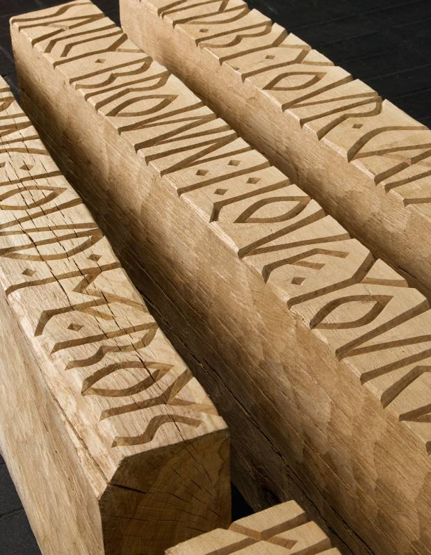 Dryonautica, 2008, by Gary Breeze features sea shanties carved in oak, from £4,000.