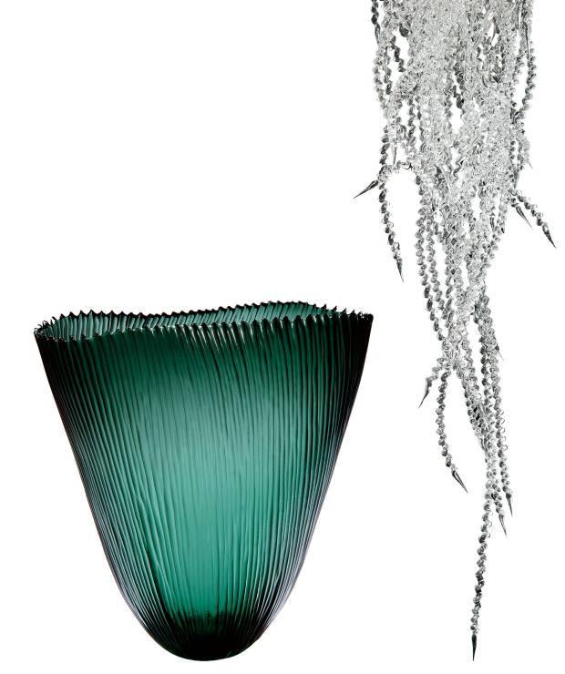 From left: Fin bowl by Laura Birdsall, £1,500, and Anima chandelier by James Lethbridge, £20,500