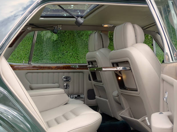 """The interior of the Bentley is finished in regalBrewster Green with contrasting """"mushroom"""" upholstery"""