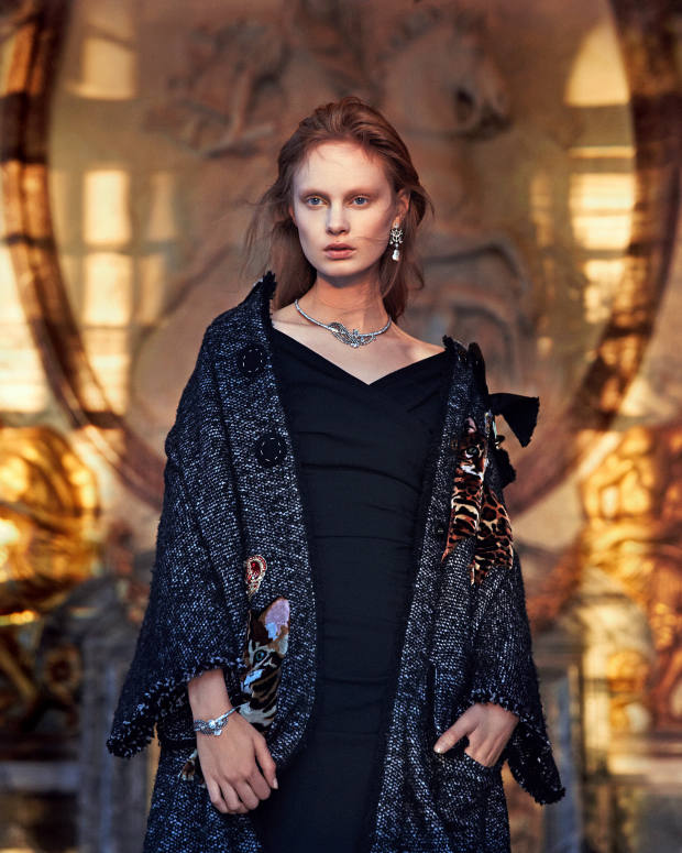 Dolce & Gabbana tweed and velvet coat, £5,250, and wool crepe dress, £1,350. Dior Fine Jewellery Salon de Mars Glace white gold, darkened silver, platinum and diamond earrings; Cour de Marbre white and rose gold, darkened silver and diamond necklace, and matching bracelet. All price on request
