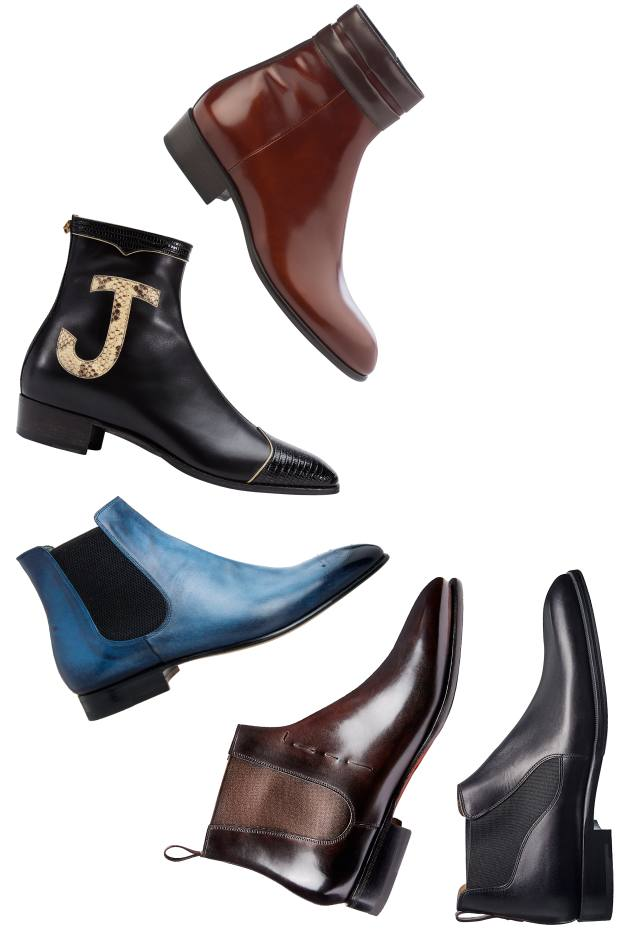 From top: Jimmy Choo leather Jimi boots, from £650. Gucci leather, lizard and python boots, £1,620. Moreschi calfskin Shadow boots, £665. Santoni leather Beatle boots, €770. Berluti leather Capri boots, £950