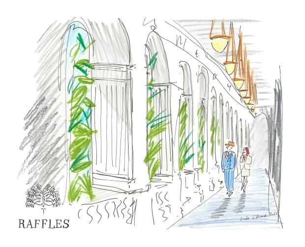 Borys is escorted down an outdoor corridor by a Raffles Singapore employee, as imagined by Luke Edward Hall