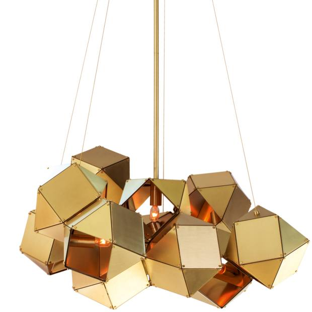Gabriel Scott satin-brass Welles chandelier, $10,200